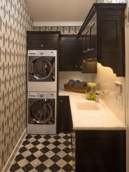 cool-space-saving-washing-machine-with-artistic-wallpaper-white-ceramic-tiles-backsplash-dark-brown-kitchen-cabinet-marble-countertop-with-cabinet